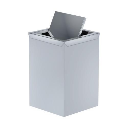 Trash stainless steel wastepaper with swing lid. Art 177